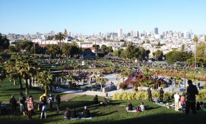 My Instagram of a perfect (and intentionally designed) vista at Dolores Park. This shit doesn't happen anymore.