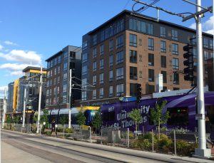 Redevelopment of Minneapolis' Stadium Village along the new Green Line. Many buildings were given parking exemptions or reductions.
