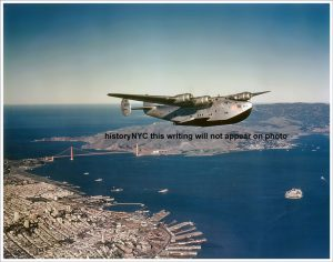 Pan Am Clipper over San Francisco in 1942. Read more about Clipper planes