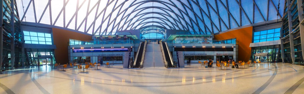 ARTIC - Anaheim Regional Transportation Intermodal Center - Designed by HOK, this is a sports stadium for transit centers, serving Amtrak and regional buses. The interior resembles an airport in delivering information seamlessly to users.