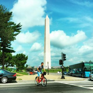 First thing I saw upon landing in DCA and Ubering into the city, was a guy riding a bikeshare against the Washington Monument.