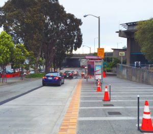 Glen Park's BART streetscape redesign eliminated a coveted stopping lane in favor of an extended pedestrian waiting area.